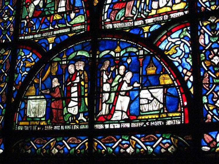Victorian glass showing Becket's murder