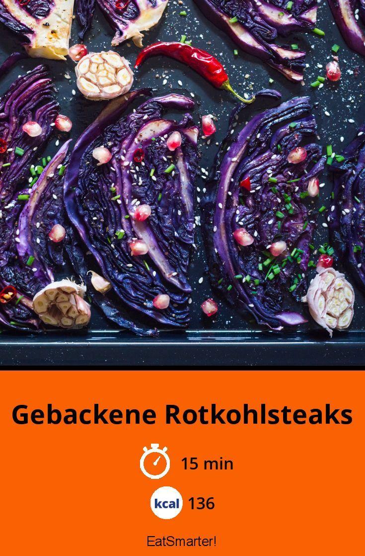 Gebackene Rotkohlsteaks Rezept Kohl Steaks Kohl Rezepte Mit Rotkohl