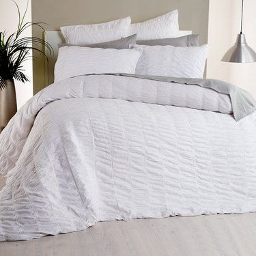 KOO Bella Ruched Quilt Cover Set White Single