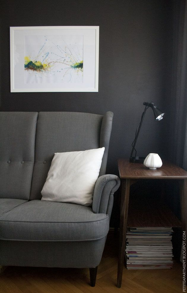 Dark grey black living room with grey ikea strandmon sofa - Grey and black living room pictures ...