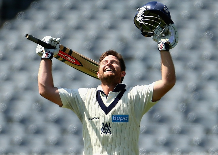 Michael Hill of the Bushrangers celebrates scoring his century during day three of the Sheffield Shield match between the Victorian Bushrangers and Queensland Bulls at the Melbourne Cricket Ground on February 20, 2013 in Melbourne, Australia.    Photo by Robert Cianflone/Getty Images