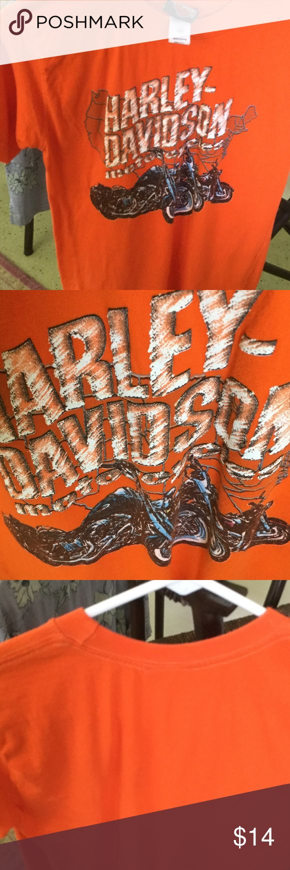 Harley Davidson T Shirt Orange with white/ black  writing, says size 14-16 large, I think it would be a small for women, no stains or rips Harley-Davidson Tops Tees - Short Sleeve