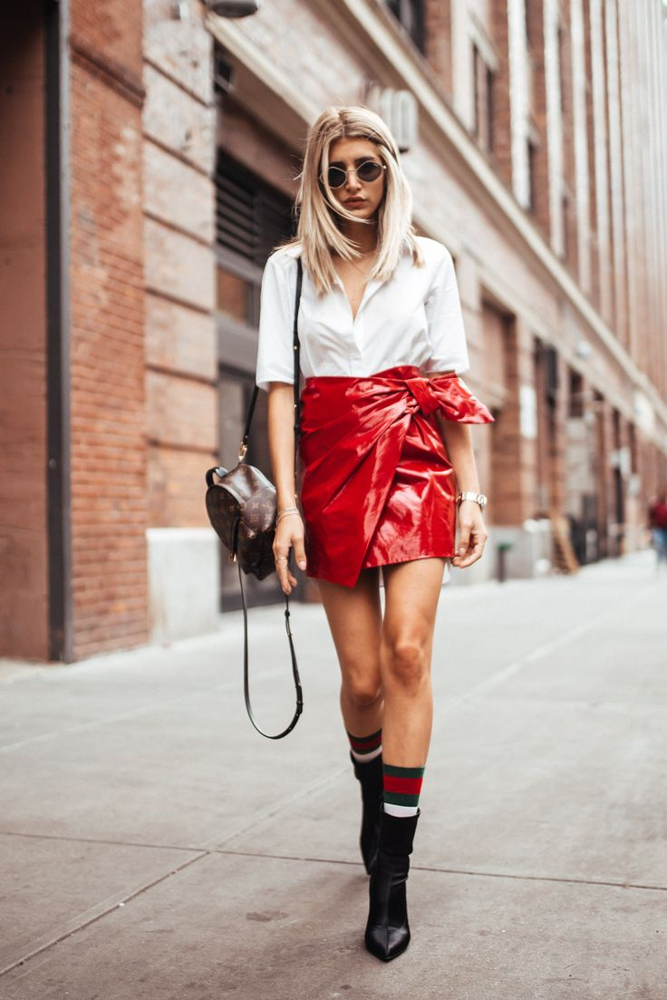 Fashion And Lifestyle Blogger Cristina Monti Wearing Isabel Marant Patent Leather Skirt, COS white shirt, Louis Vuitton Palm Springs Mini Backpack And Sigerson Morrison Heels To New York Fashion Week