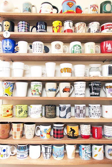 Prateleira perfeita para quem é fã de canecas e tem uma coleção.