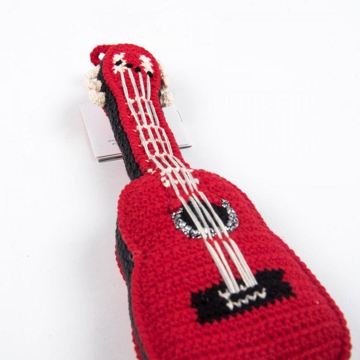 Anne-Claire Petit gehäkelte Spieluhr Gitarre in Rot