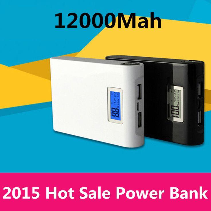 Power bank 12000mAh 2 USB backup Powerbank LCD Portable charge Universal 18650 external battery for Mobile