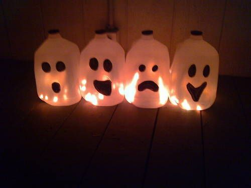 recycled milk jug ghost decorations with mini tutorial occasions and holidays i made these cute little spooky guys in about 20 minutes if you include