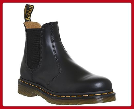 Dr. Martens Women's 2976 Yellow Stitch Smooth Chelsea Boots, Black Leather, 4 M UK, 6 M US - Mens world (*Amazon Partner-Link)