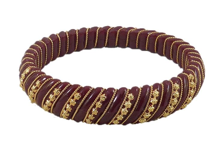 Maroon Lac Bangle with Stone (Lac)