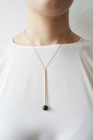 Brass lava bead & Japanese silk