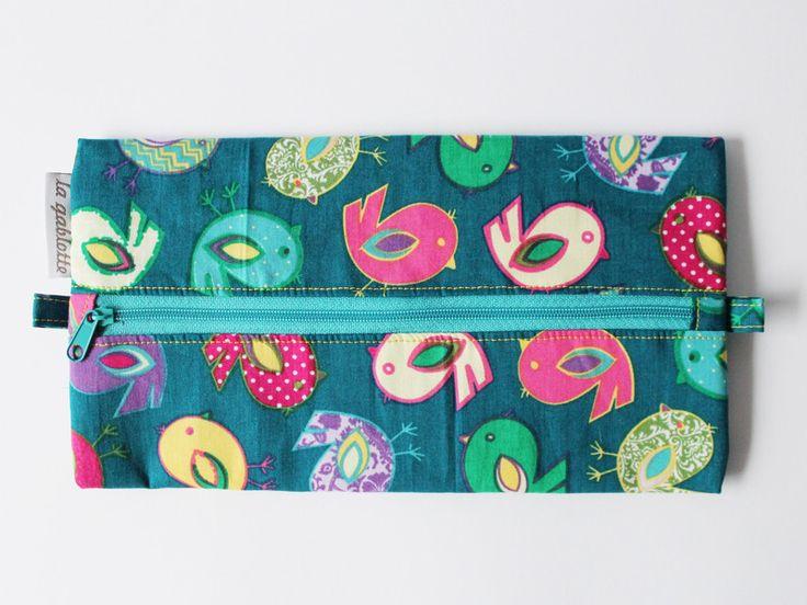 Kosmetyczka-piórnik płaska w lagablotte na DaWanda.com / Flat pouch with zip centered on DaWanda.com