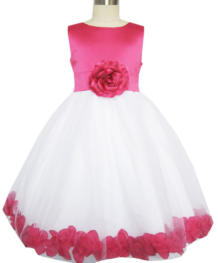 Girls Dress Rose Flower Tulle Wedding Pageant Bridesmaid Size 2-14 Years