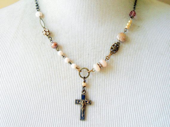 French+Cross+Necklace+Assemblage+Religious+Crucifix+by+Vinchique