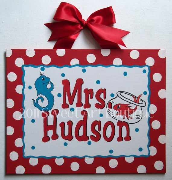 Cute teacher gift idea! $39 --  Big Red White Polka Dots Seuss Custom canvas letter name sign wall art baby nursery red DR seuss cat hat horton one two fish teacher
