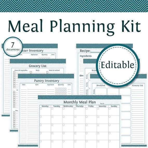 editable meal planner