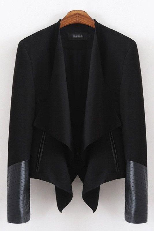 Black Layered Faux Leather Jacket