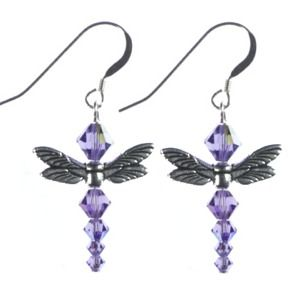 Swarovski Dragonfly Earring Project - a variant on Angels...  It is all in the hardware.  #Wire #Jewelry #Tutorials