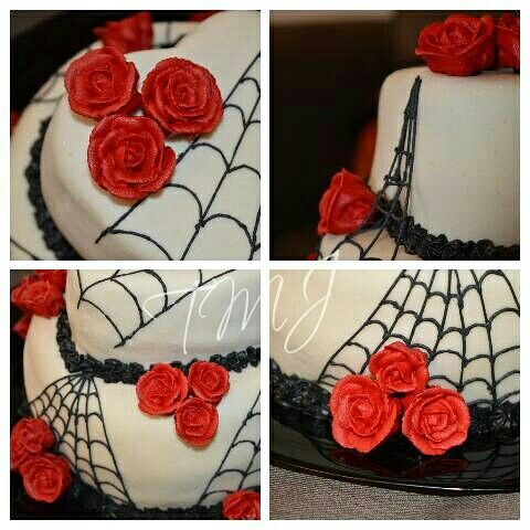 #halloween #birthdaycake #decorated with #royalicing #roses and #spiderweb