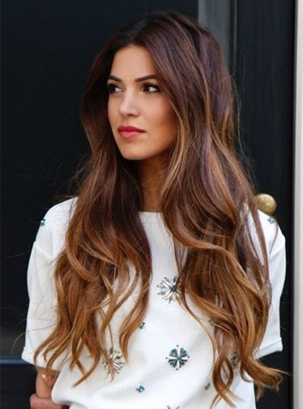 Brown ombre  balayage hairstyle, long wavy hair with highlight
