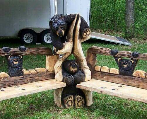 Outdoor options carved wood benches bears creative