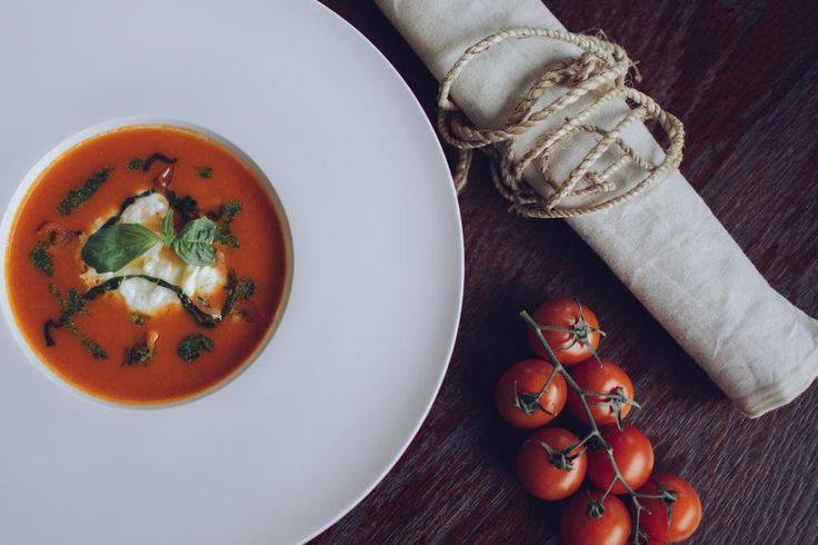 Hello friends! We would like to invite you to our restaurant. Try tomato soup with mozzarella, cherry and  basil.
