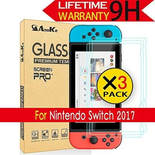 Nintendo Switch Screen Protector [3 Pack] AnoKe (0.3mm 9H 2.5D) Best Tempered Glass Screen Protector Film Shield Case For Nintendo Switch 2017 3Pack