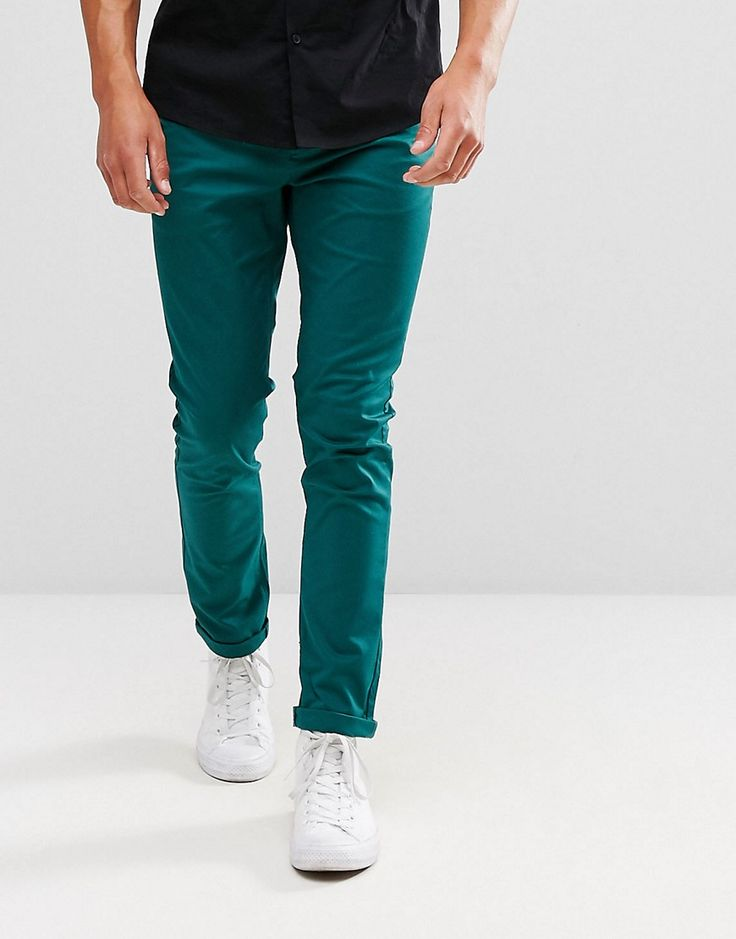 Get this Asos's chinese trousers now! Click for more details. Worldwide shipping. ASOS Skinny Chinos In Dark Teal - Green: Chinos by ASOS, Stretch woven cotton, Concealed fly, Functional pockets, Skinny fit - cut very closely to the body, Machine wash, 98% Cotton, 2% Elastane, Our model wears a W32 Regular and is 188cm/6'2 tall. ASOS menswear shuts down the new season with the latest trends and the coolest products, designed in London and sold across the world. Update your go-to garms with…