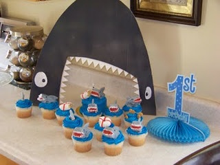 Shark background for table/cupcakes.