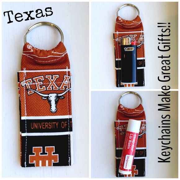 "UT Texas College Print Chapstick Keychain NWOT UT Texas College Print Chapstick Keychain Fits Mini Bic Lighters~and Flash Drives Size 4"" x 1  1/2"" Smoke Free Home Chapstick/Lighter NOT Included ✨Pattern placement varies✨ All Keychains are made with high quality material from a smoke free home Interface Metal Keyring Accessories Key & Card Holders"