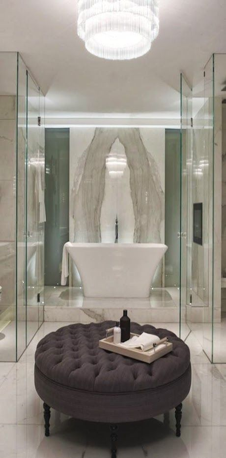 217 best images about glass partitions on pinterest for Master bathroom ottoman