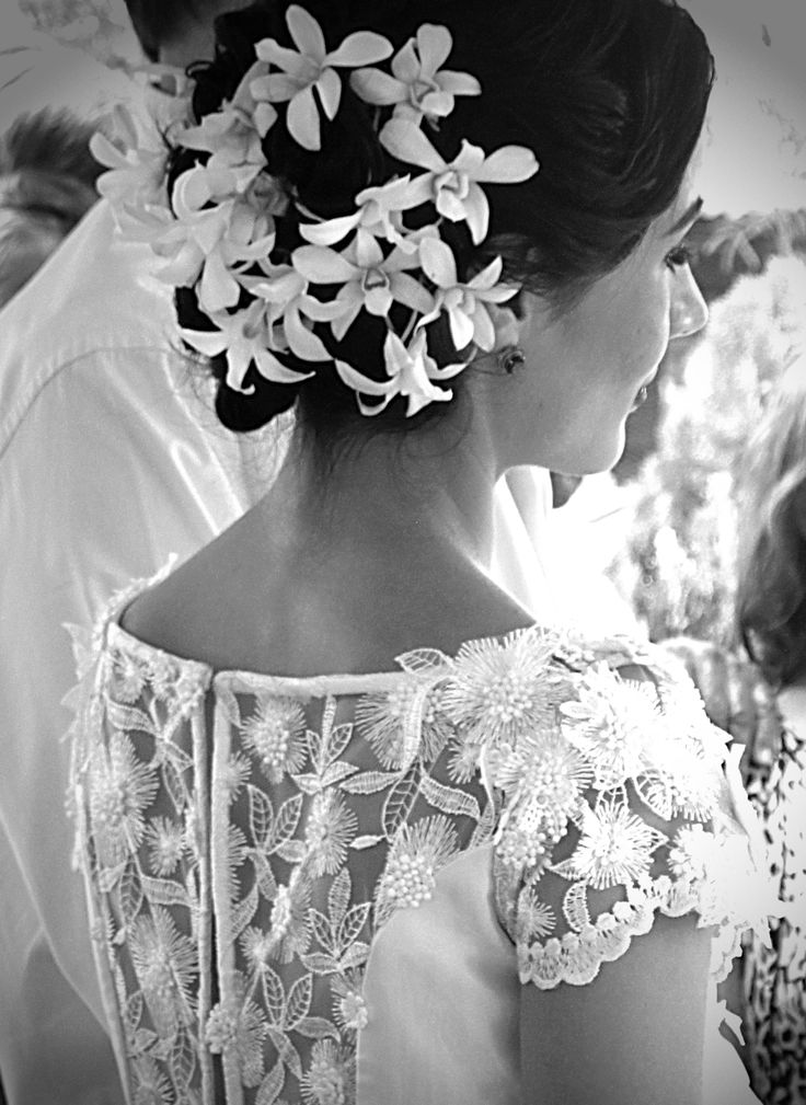 Black and white Bride Flowers Orchids Hair and make up