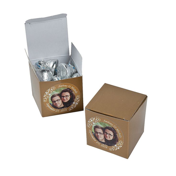 sapphire wedding anniversary invitations%0A Custom Photo Mini Gold Favor Boxes    th Anniversary