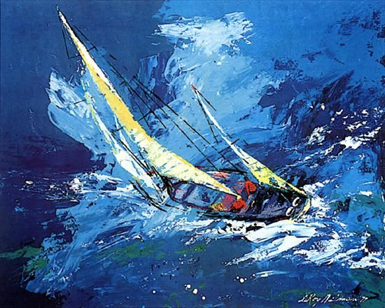 I appreciate this painting mostly because that looks like a boat I would like to own. panthera-aquarius:  Leroy Neiman'sSailing