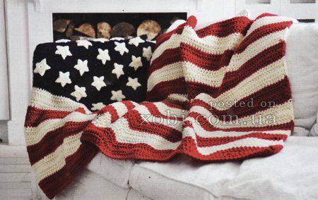 плед американский флаг