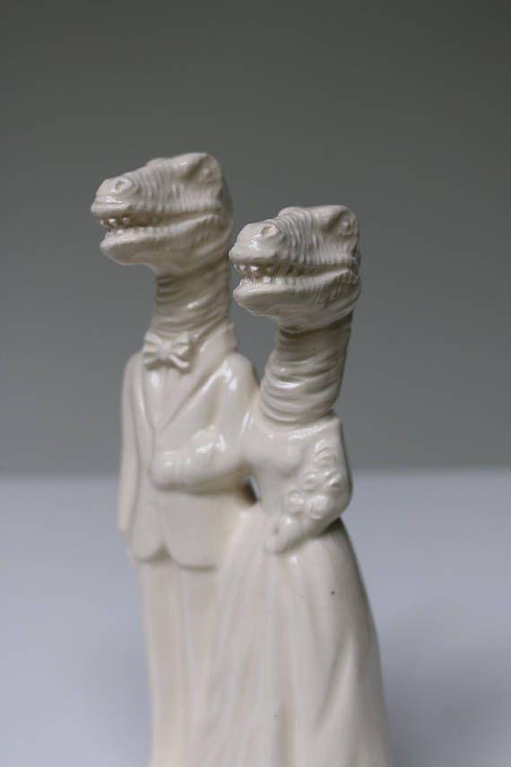 Dinosaur Couple Handmade Ceramic Wedding Cake Topper Wedding Cake Toppers Unique Animal Cake Toppers Wedding Fun Wedding Cake Toppers