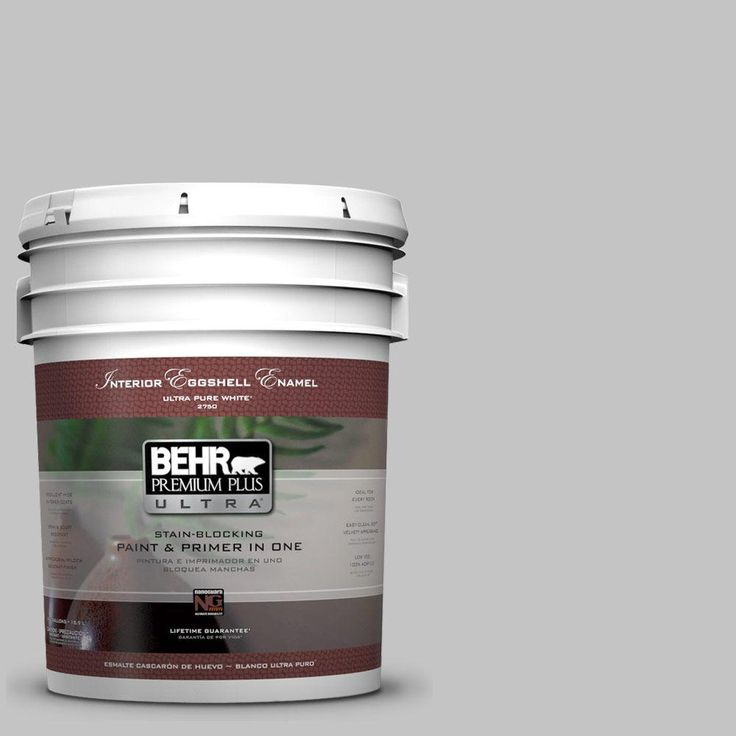 BEHR Premium Plus Ultra 5 gal. #N520-2 Silver Bullet Eggshell Enamel Interior Paint and Primer in One-275005