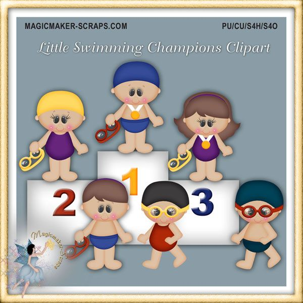 Little Swimming Champions Clipart