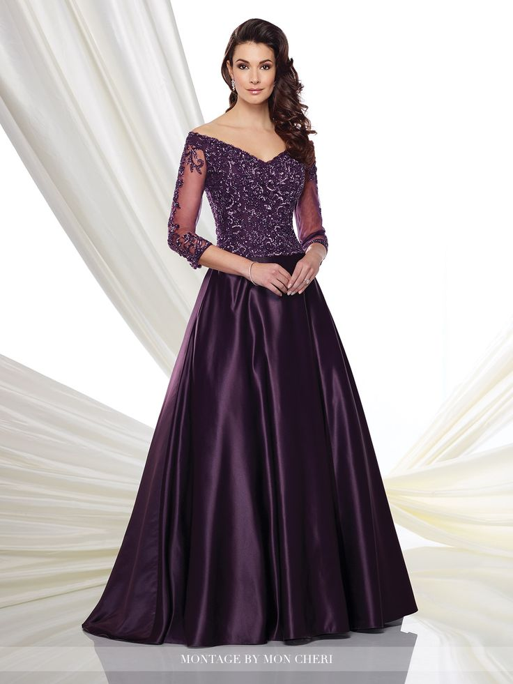 mon cheri bridals 216980 - Off the shoulder satin ball gown with hand-beaded illusion three-quarter length sleeves, V-neckline, bodice encrusted with beading, full gathered satin skirt with sweep train.