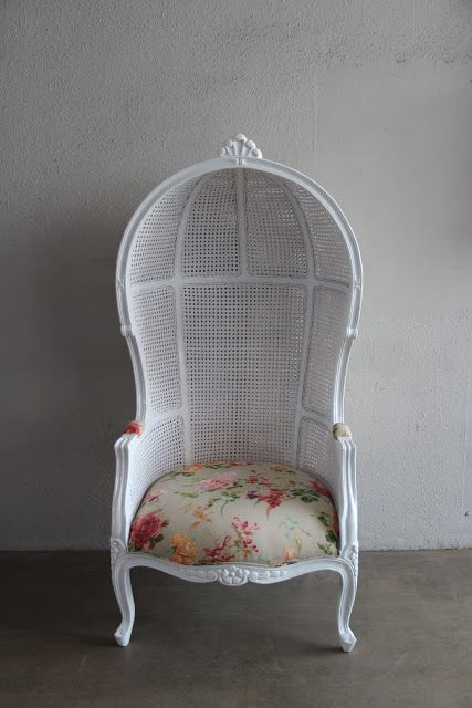 Captivating French Canopy Chair With Rattan Frame And Country Like Flowered Fabric .