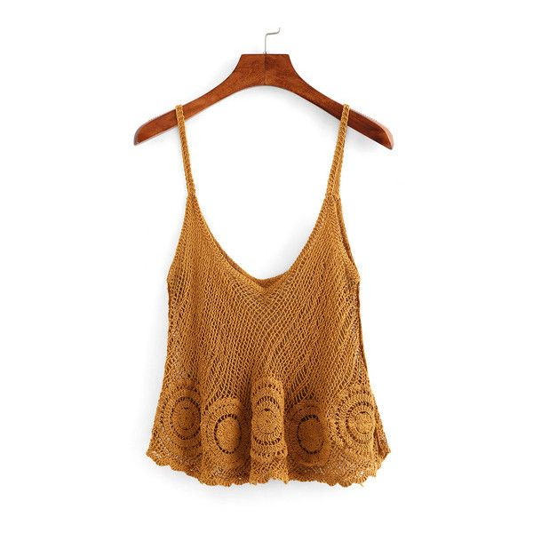 SheIn(sheinside) Hollow Out Swing Crochet Cami Top ($13) ❤ liked on Polyvore featuring tops, camel, crochet tank top, spaghetti strap tank top, brown tank, cami tank tops and cami tank