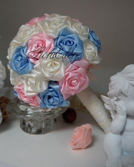 Нежный букет невесты из атласных лент в  трехцветной гамме. Купить или заказать букет невесты можно в Нарве. Доставка по всей Эстонии Информация: + 372 53 815 356