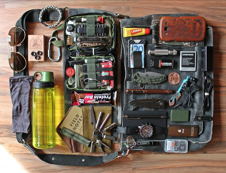 This is the usual content of my bag when I´m on the way a whole day. Most small things, it looks like more than it is. Some of the gear is on person the other is in the bag and in the Maxpedition Organizer.