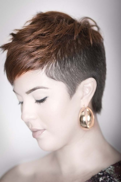 Shaved side short hair style for women