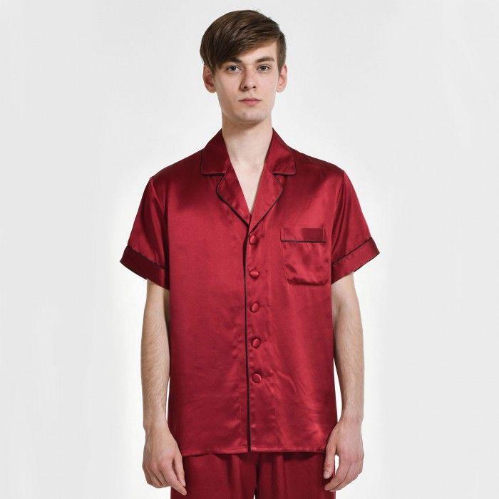 Mens Silk Pajama Top Plus Size Silk T Shirt - OOSilk #silk #sleepwear #nightwear #dressinggown #robe #bathrobe #tops #shorts #pants #trousers #bottoms #pajamas #pjs #set #silky #soft #comfort #breathable #smooth #onlineshopping #man #men #male #gentlemen #sleep #fashion #menfashion