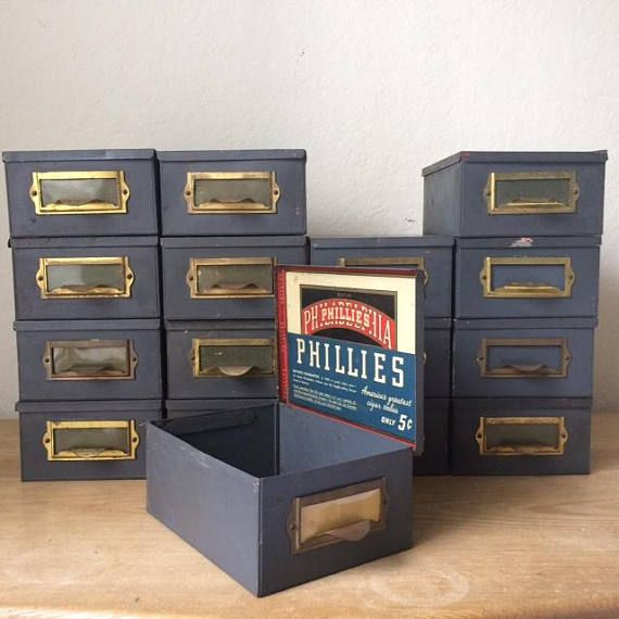 Vintage Metal PHILLIES Cigar File Boxes Industrial Storage