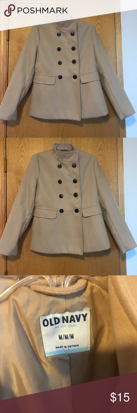 Old navy pea coat Tan with black buttons.  Great condition Old Navy Jackets & Coats Pea Coats
