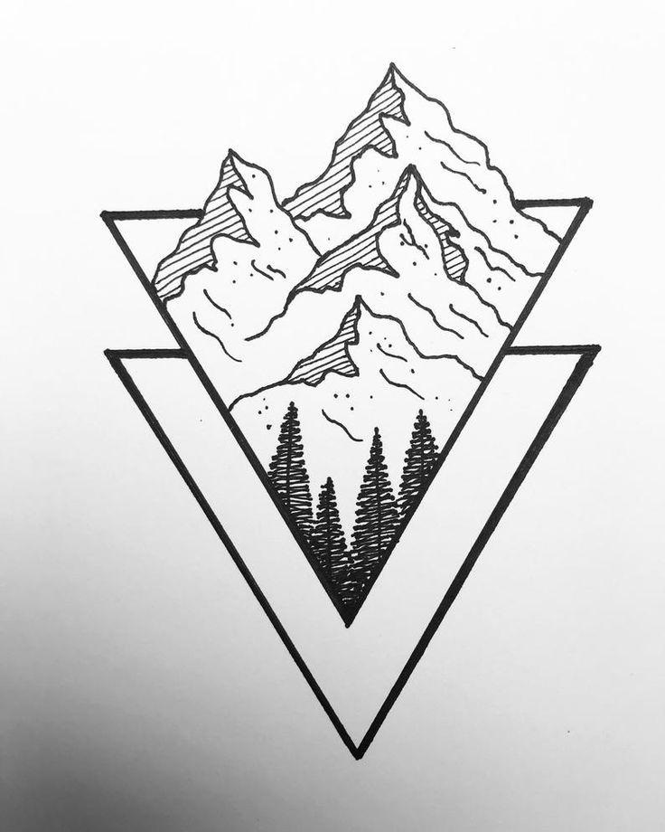 Black and white geometric mountain pine tree drawing