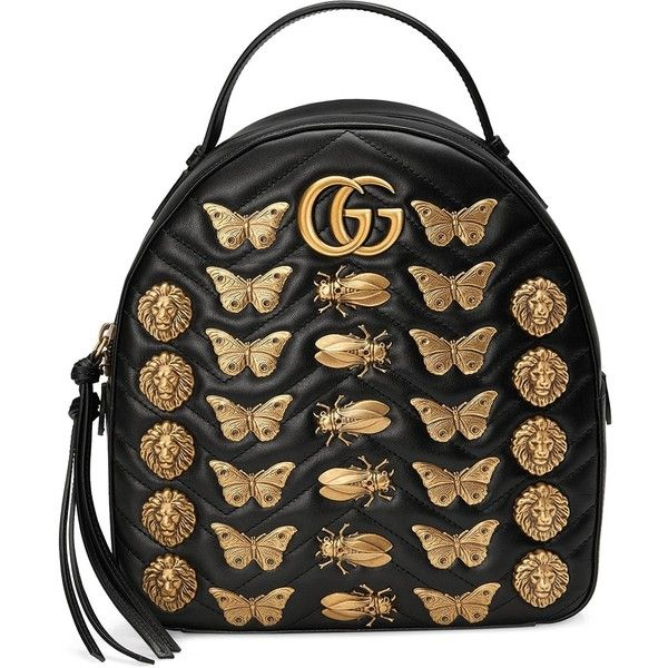 Gucci GG Marmont Animal Studs Leather Backpack ($2,490) ❤ liked on Polyvore featuring bags, backpacks, bags /, kirna zabete, gucci knapsack, butterfly backpack, genuine leather backpack, animal backpacks and gucci backpack