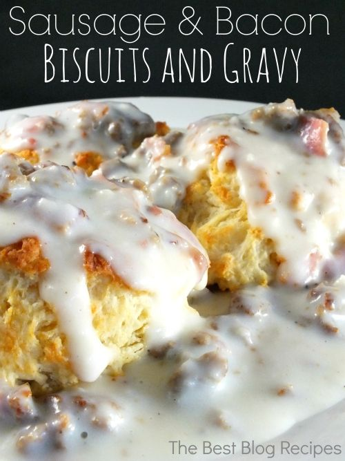Sausage Bacon Biscuits and Gravy recipe from The Best Blog Recipes!  Why I haven't thought to put bacon in my biscuits and gravy before?  Such a great flavor and easy to make! #recipes #biscuits #gravy #breakfast