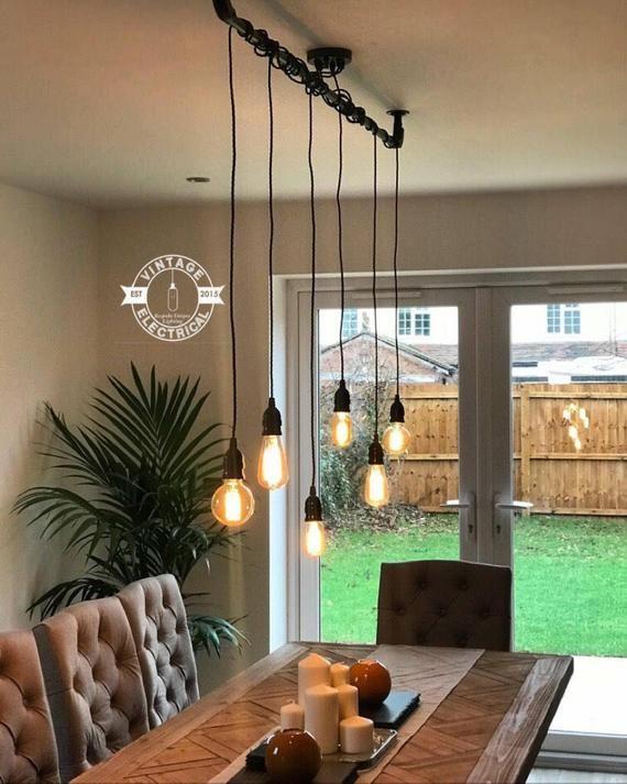Burnham 6 X Industrial Pendant Set Ceiling Dining Room Etsy Hanging Ceiling Lights Dining Room Lighting Lights Over Dining Table